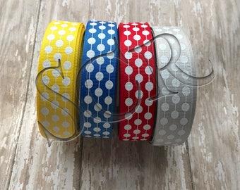 White Glitter Dot Ribbon USDR Grosgrain Ribbon by the Yard 7/8 inch Red Blue Grey Yellow Glitter Print Ribbon Trim Bundle Ribbon for Hairbow