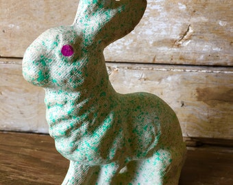 Vintage Paper Mache Bunny or Rabbit 1940's Green