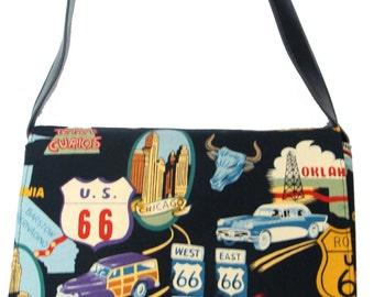 US Handmade Route 66 Pattern Messenger Bag Pattern Shoulder Bag Purse Cotton Fabric, Black Color, New