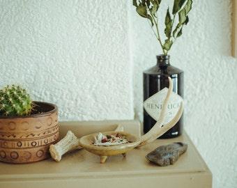 smudge kit ~ white sage + palo santo + juniper + rose + lavender. organic smudging dish, blend, charcoal, & a quartz crystal