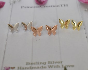 Sterling Silver Butterfly Stud Earrings - Tiny Butterfly Stud - Gold Butterfly Earrings - Plain Butterfly Stud - Everyday Stud Earring PCS45