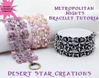 Silky Deco Cuff Bracelet Tutorial, As Seen in Beadwork Magazine, Metropolitan Nights Bracelet Pattern, Two Hole Beads PDF Instructions