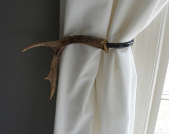 Antler Curtain Tie Back Holdback SET Cabin Decor Primitive Natural Rustic Woodland Size Small