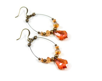 Crystal Earrings - Amber Earrings - Beaded Jewelry - Light Weight Handmade Earrings - Astral Pink Crystal - Gift For Her
