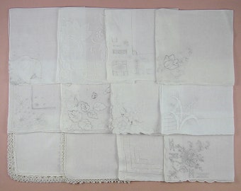 Vintage Hanky Lot,Wedding Hanky Lot,One Dozen White Wedding Vintage Hankies Handkerchiefs (Lot #90)