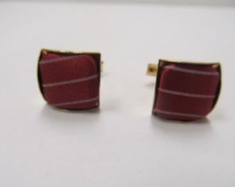 Vintage Cranberry Satin Cuff Links Item W-#489