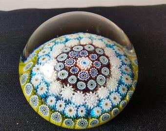Vintage Scottish Strathearn Millefiori Cane Art Glass Paperweight