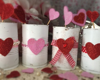 4 Valentines Day Decor White Painted Small Tin Cans Glitter Love Hearts Vases Centerpieces Candy Holders Gift Boxes Candle Party Decorations