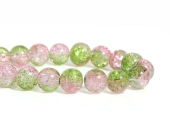 Round glass beads, pink and green color, transparent and Crackle effect-10 mm-