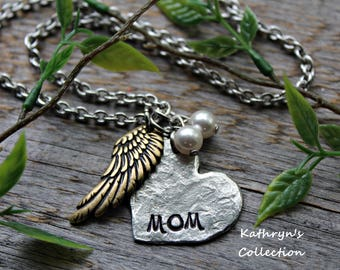 Memorial Necklace, Mom Memorial Necklace, Loss of Mother, Forever in My Heart, Memorial Jewelry, My Angel(Read full listing details)