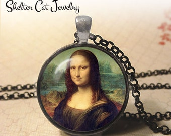 "The Mona Lisa Necklace - Leonardo da Vinci - 1-1/4"" Circle Pendant or Key Ring - Photo Art Jewelry - Famous Painting Artwork, Painter Gift"