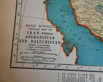 1938 Iran Afghanistan Map, vintage atlas map, Persia, old maps, maps as art