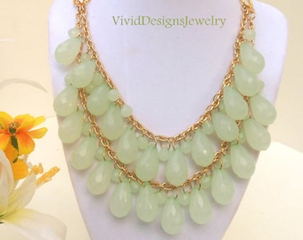Seafoam Green Layered Teardrop Statement Necklace - Bib Bubble Necklace