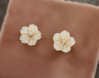 Hand Carved Mother of Pearl Delicate Flower and Rhinestone Stud Earrings