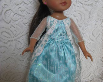 """Blue Sparkley Print gown to fit Hart for Hart, Les Cheries and other 13"""" Dolls"""