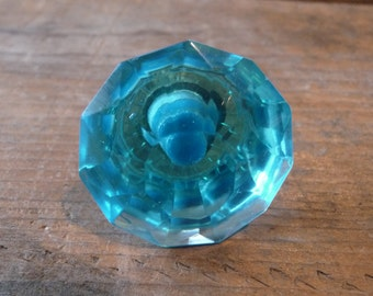 Turquoise Aqua Blue = FLARE CUT = Crystal GLASS Knob = Shabby Chic = Drawer Pull - Rustic Romantic Country