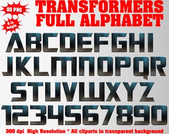 Transformers Full Alphabet, Numbers, Symbols, Auto bots Logo | 83 PNG | 300 dpi | Transparent Background | Transformers Birthday Party