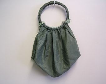 Victorian Green Satin Hand Bag or Work Bag