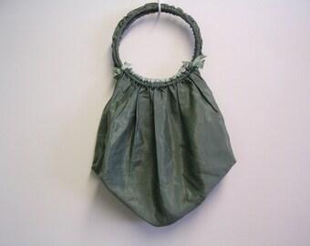 Victorian Green Satin Hand Bag or Work Bag