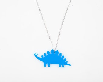 Medium Stegosaurus Dinosaur Necklace. Dinosaur Pendant. Charm Necklace. Blue Dinosaur. Plastic Necklace. Novelty Necklace. Bridesmaid Gift.