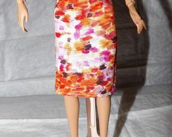 Fashion Doll Coordinates - Orange brush print skirt - es368