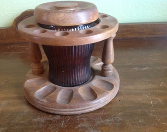 Vintage Pipe stand with center tobacco canister and top