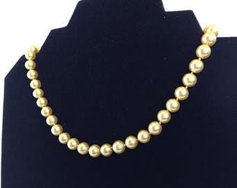 Vintage, Lemon Yellow Faux Pearls/ Choker Beaded Necklace/ HandKnotted