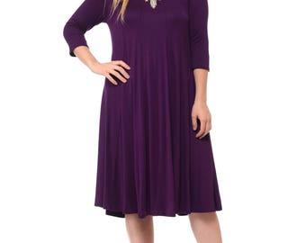 A-Line Trapeze Midi Dress Plus Size Purple