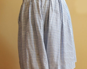 Vintage 1940s to 1950s Baby Blue and White Checkered Cotton Skirt