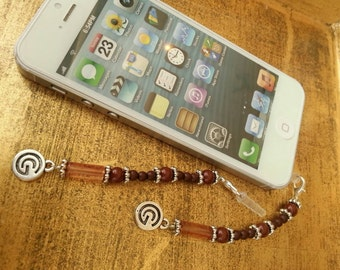 Prayer Beads Perfect Techie Mothers Day zipper pull Cell Phone Charm Wood Geometric Purse Charm Keychain Scissor