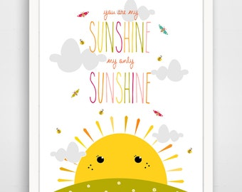 You Are My Sunshine Print - Sunshine  Nursery Decor - wall art