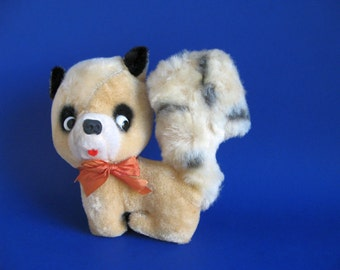 Vintage Roger Racoon R. Dakin Stuffed Animal Toy with Original Tag Nature Babies 1960s Forest Animal Orange Ribbon