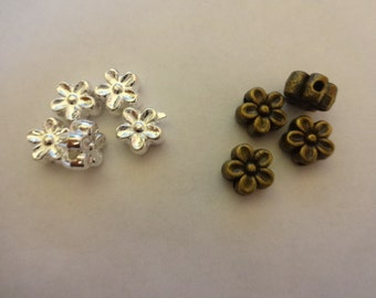Pack of 30 / 50 Lovely Flower Spacer Beads 7mm Bright Silver / Bronze Plated Tibetan 5 petal flower Spacers