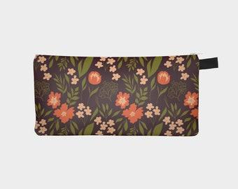 Warm Floral Pencil Case, Zipper Pencil Pouch, Travel Pouch, Teacher Gift, Small Organizer Bag, Teen Stocking Filler, Best Friend Gift