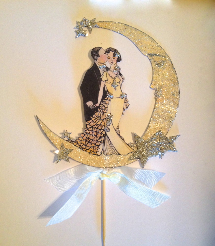 Moon Wedding Cake Topper. Great Gatsby Cake Topper. Bride and Groom ...