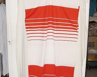 Vintage 60s Poly Knit Orange White Stripe 2 yds by 66 in