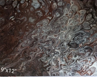 9x12 inch black, copper, silver and white acrylic pour