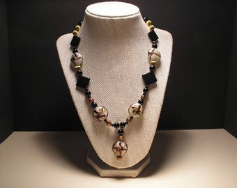 Black, Gold and White glass bead necklace
