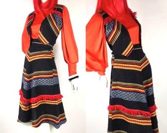 Vintage 1970s mexicana Hippie / festival waistcoat / skirt set by Charlie Girl // Woodstock // Boho