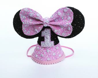 Baby Minnie Mouse Birthday Hat | Disney birthday party hat | smash cake | pink Minnie Mouse ears | Baby First birthday | disney party
