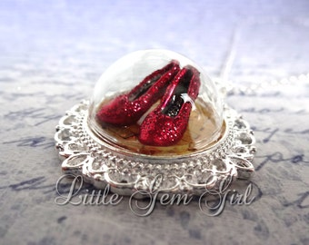 Ruby Red Slipper Wizard of Oz Necklace - Silver Victorian Oz Jewelry - Follow the Yellow Brick Road Glass Dome