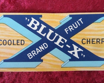 Blue X Cherries Vintage Fruit Crate Label