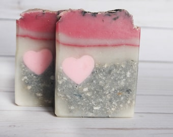 Love Struck - Heart Soap -  Love Soap -gift for her - Coconut Oil Soap - Coconut Milk- Glow in the dark Cold Process present mothers day