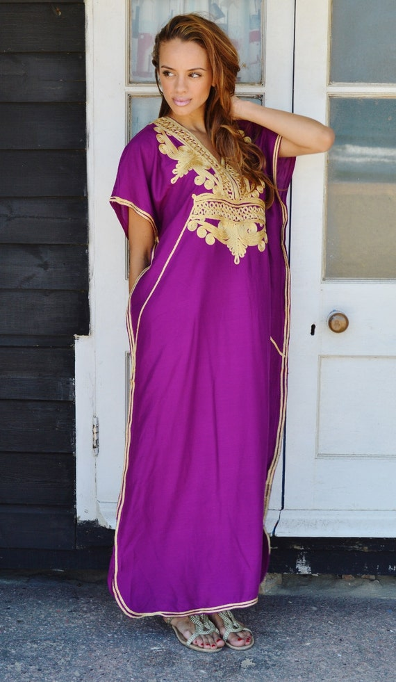 Kaftan, Plum Purple with Gold Marrakech Resort Caftan Kaftan, loungewear, dresses, birthdays, honeymoon, maternity, spring dress, ramadan