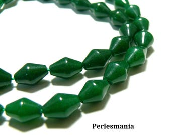 Beads and findings: 2 jade colored green bi color pyramid 8 by 12mm beads