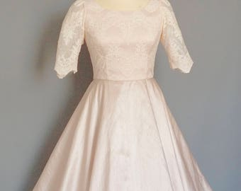 Blush Pink Silk Dupion & Cotton Embroidered Lace Plus Size Wedding Dress  - Made by Dig For Victory