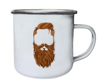 Secret Men with the Ginger Beard and Mustache Retro,Tin, Enamel 10oz Mug m2e