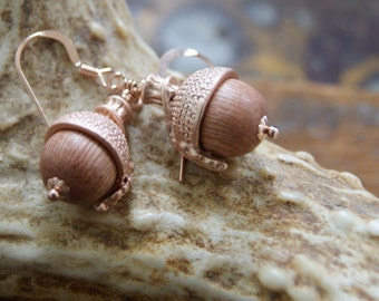 Rose Gold Acorn Earrings with Rosewood Beads