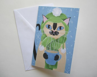 Siamese Cat with Coffee Holiday Card, Siamese Cat Christmas Card, Cat with Coffee Holiday card by Amber Maki