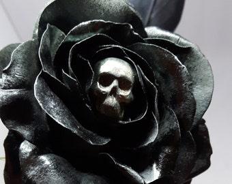 Gothic Black Gumpaste Rose Cake Topper Sugar Flower Gothic Wedding
